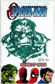 Spectacular Spider-man #1 Jay Company Originals Sketch N Sign Keu Cha Remarked Hulk COA #6